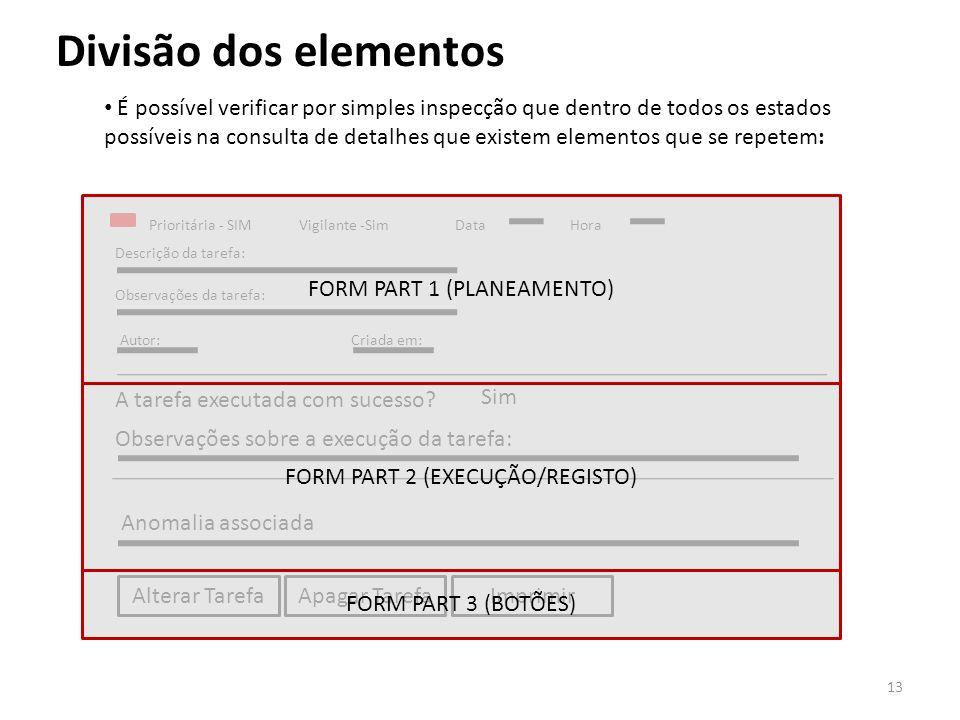 Divisão dos elementos É possível verificar por simples inspecção que dentro de todos os estados possíveis na consulta de detalhes que existem elemento