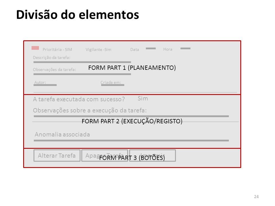 Divisão do elementos Prioritária - SIMVigilante -SimData Hora Descrição da tarefa: Observações da tarefa: Autor:Criada em: A tarefa executada com suce