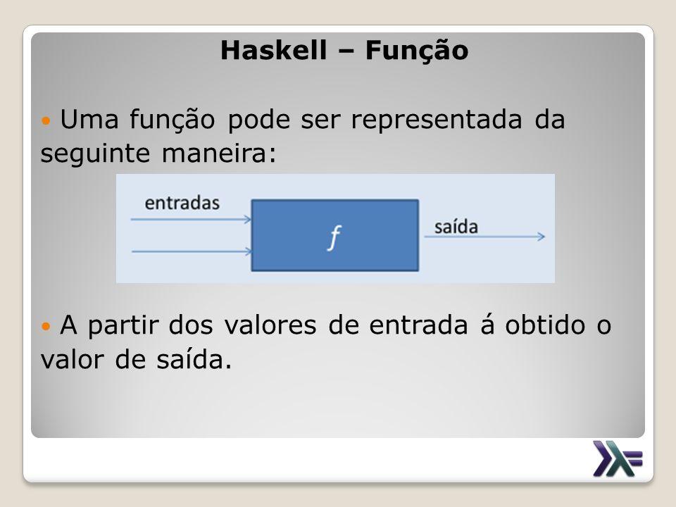 Haskell – Função Uma função pode ser representada da seguinte maneira: A partir dos valores de entrada á obtido o valor de saída.