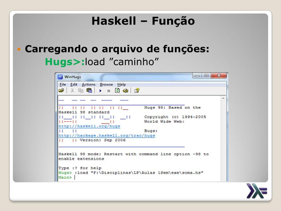 Haskell – Função Carregando o arquivo de funções: Hugs>:load caminho