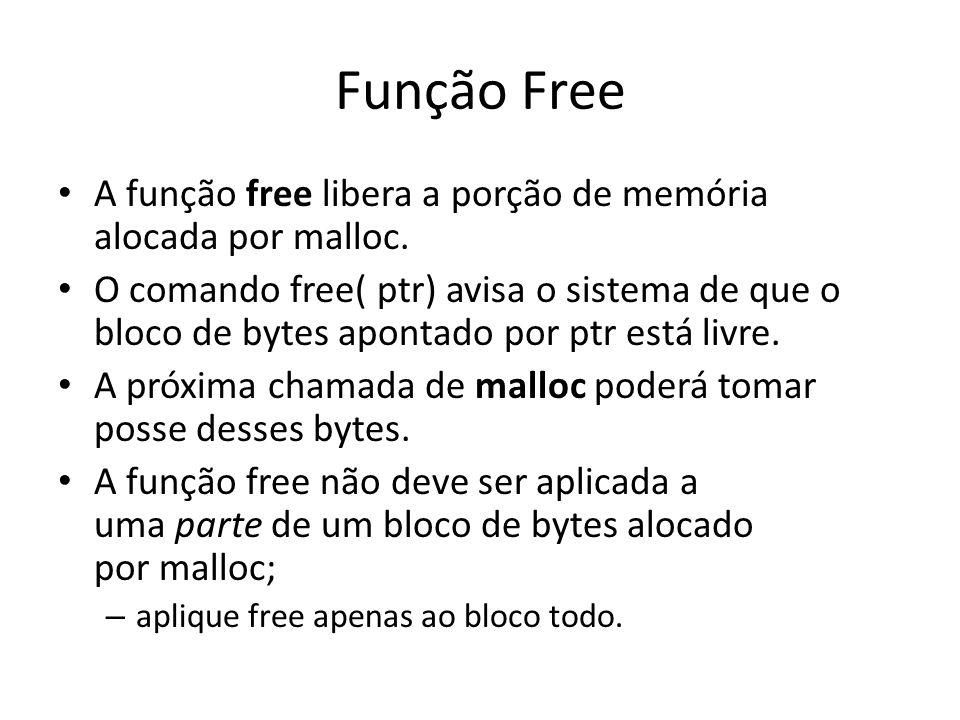 Função Free A função free libera a porção de memória alocada por malloc. O comando free( ptr) avisa o sistema de que o bloco de bytes apontado por ptr