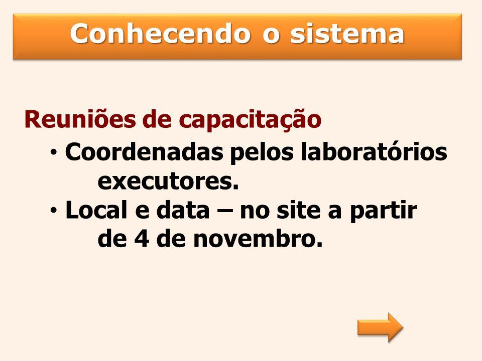 Conhecendo o sistema Reuniões de capacitação Coordenadas pelos laboratórios executores.