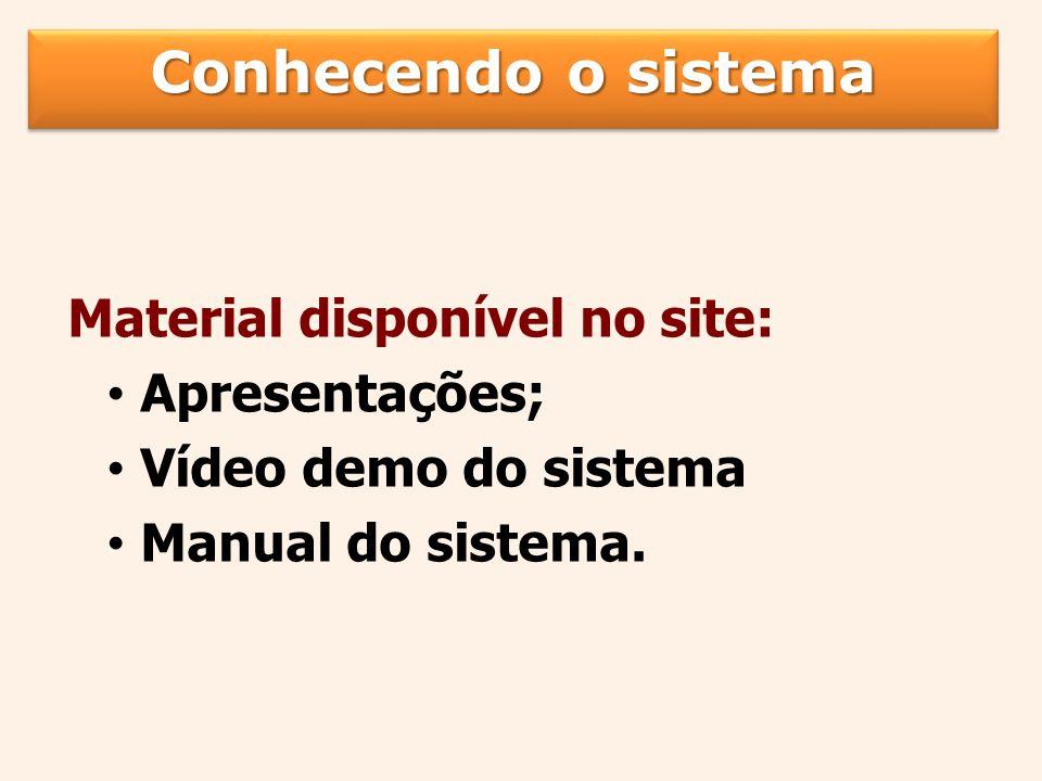 Material disponível no site: Apresentações; Vídeo demo do sistema Manual do sistema.