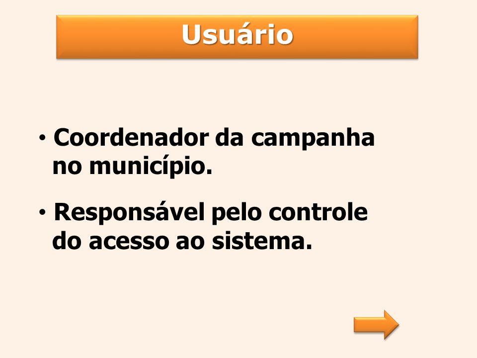 UsuárioUsuário Organizar atividades referentes à utilização do sistema: Cadastro da requisição; Impressão das listas de remessa; Impressão dos laudos.