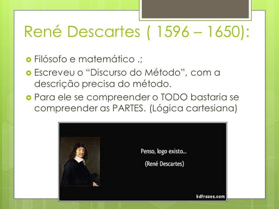 René Descartes ( 1596 – 1650): Filósofo e matemático.; Escreveu o Discurso do Método, com a descrição precisa do método.