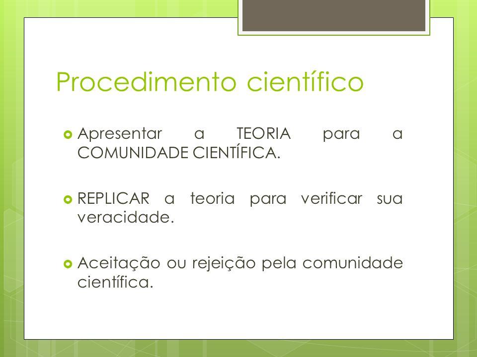 Procedimento científico Apresentar a TEORIA para a COMUNIDADE CIENTÍFICA. REPLICAR a teoria para verificar sua veracidade. Aceitação ou rejeição pela