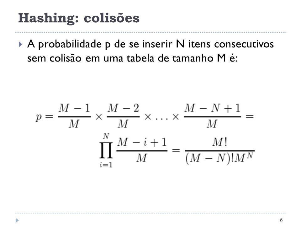Estrutura de Dicionário para Encadeamento 17 void InsereHashing(TipoItem x, TipoPesos p, TipoDicionario T) { Indice i; if (Pesquisa(x.Chave, p, T) == NULL) /* insere do TAD Lista */ Insere(x, &T[h(x.Chave, p)]); else printf(Registro ja esta presente\n ); } void RetiraHashing(TipoItem x, TipoPesos p, TipoDicionario T) { Apontador Ap = Pesquisa(x.Chave, p, T); if (Ap == NULL) printf( Registro nao esta presente\n ); else Retira(Ap, &T[h(x.Chave, p)], &x); /*Retira do TAD Lista*/ }