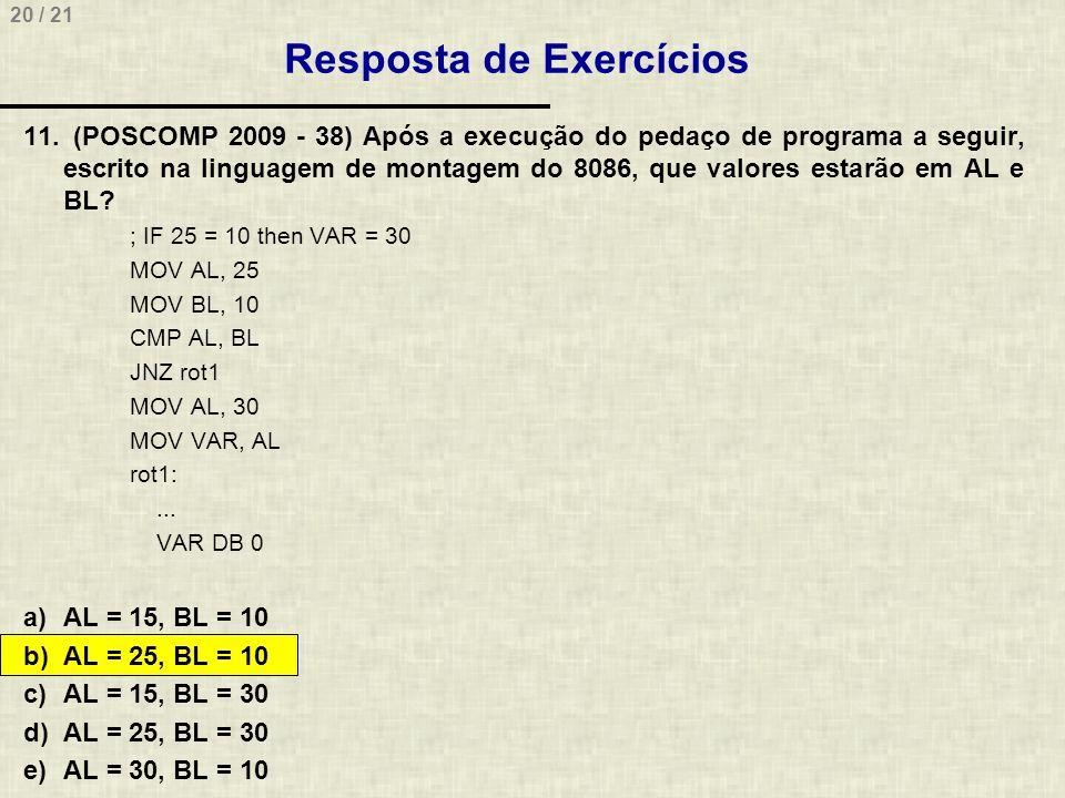 20 / 21 Resposta de Exercícios 11. (POSCOMP 2009 - 38) Após a execução do pedaço de programa a seguir, escrito na linguagem de montagem do 8086, que v