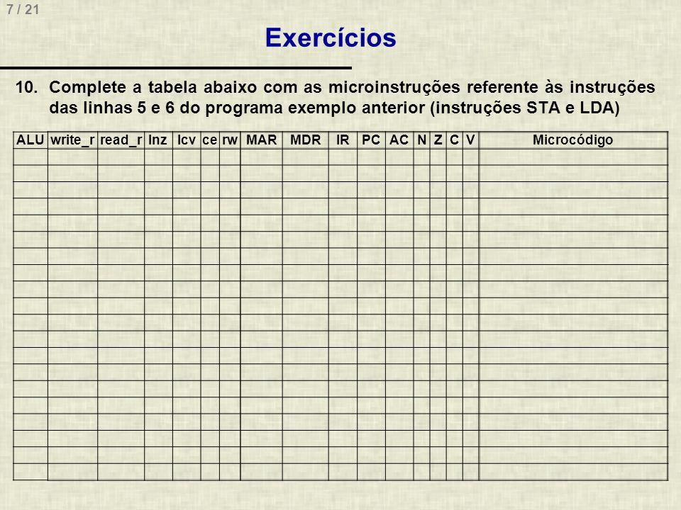 7 / 21 Exercícios 10.Complete a tabela abaixo com as microinstruções referente às instruções das linhas 5 e 6 do programa exemplo anterior (instruções STA e LDA) ALUwrite_rread_rlnzlcvcerwMARMDRIRPCACNZCVMicrocódigo