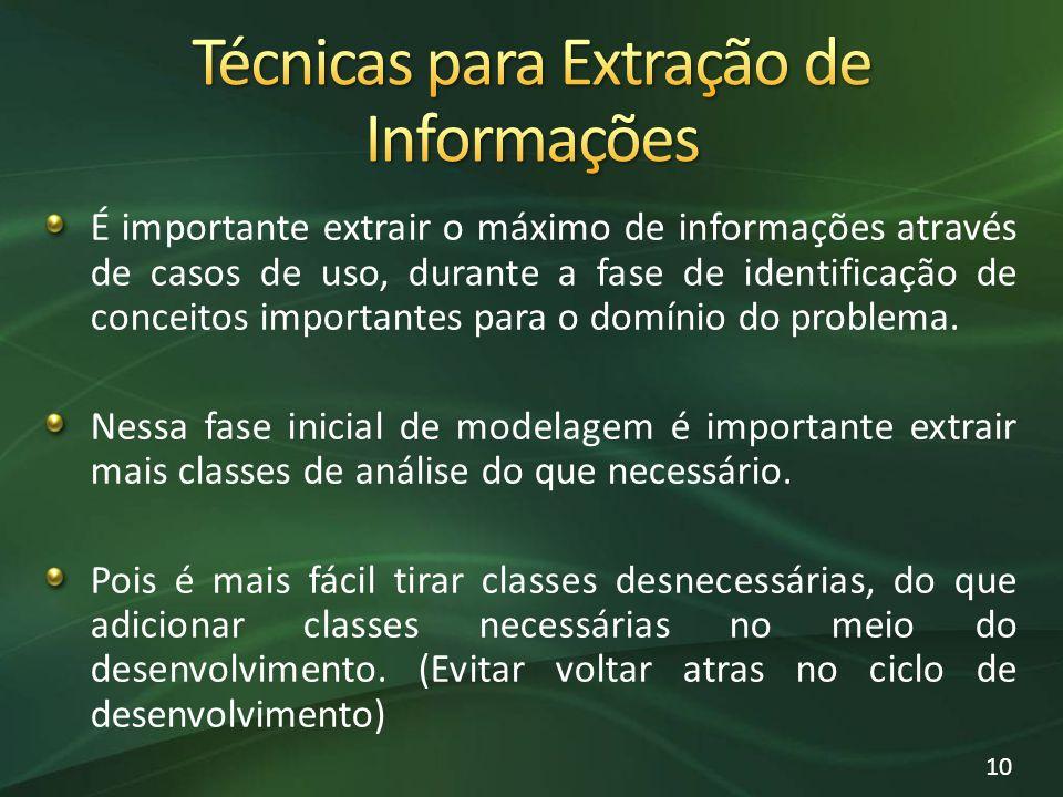 É importante extrair o máximo de informações através de casos de uso, durante a fase de identificação de conceitos importantes para o domínio do probl