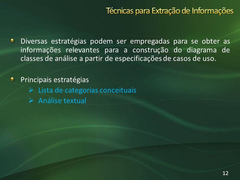 Diversas estratégias podem ser empregadas para se obter as informações relevantes para a construção do diagrama de classes de análise a partir de especificações de casos de uso.