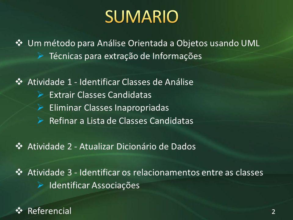 Um método para Análise Orientada a Objetos usando UML Técnicas para extração de Informações Atividade 1 - Identificar Classes de Análise Extrair Class
