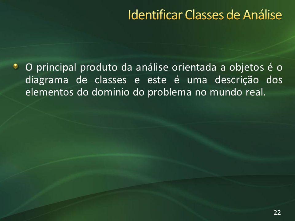 O principal produto da análise orientada a objetos é o diagrama de classes e este é uma descrição dos elementos do domínio do problema no mundo real.