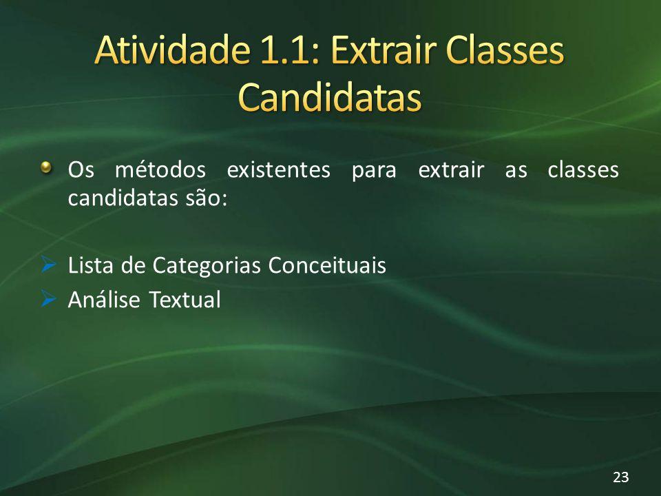 Os métodos existentes para extrair as classes candidatas são: Lista de Categorias Conceituais Análise Textual 23