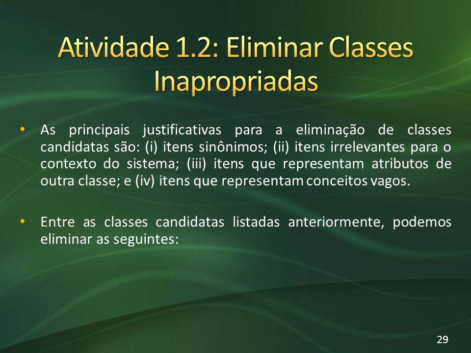 As principais justificativas para a eliminação de classes candidatas são: (i) itens sinônimos; (ii) itens irrelevantes para o contexto do sistema; (iii) itens que representam atributos de outra classe; e (iv) itens que representam conceitos vagos.