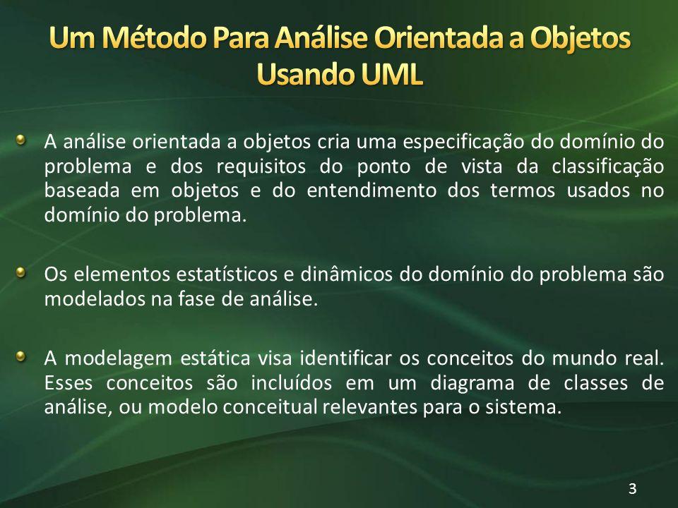 A análise orientada a objetos cria uma especificação do domínio do problema e dos requisitos do ponto de vista da classificação baseada em objetos e do entendimento dos termos usados no domínio do problema.