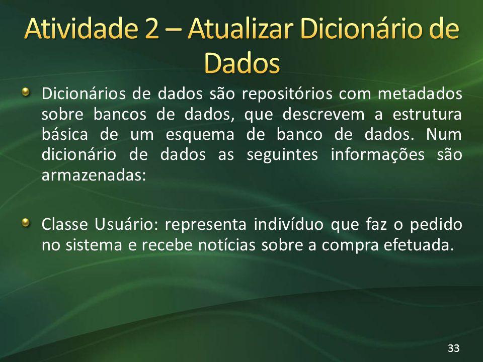 Dicionários de dados são repositórios com metadados sobre bancos de dados, que descrevem a estrutura básica de um esquema de banco de dados. Num dicio
