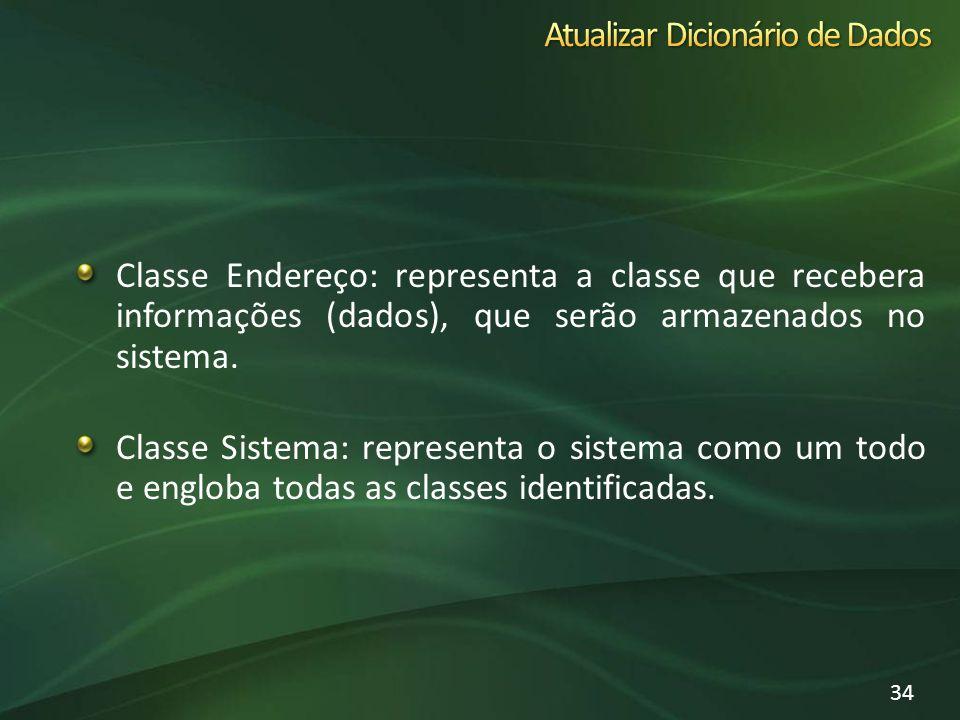 Classe Endereço: representa a classe que recebera informações (dados), que serão armazenados no sistema. Classe Sistema: representa o sistema como um