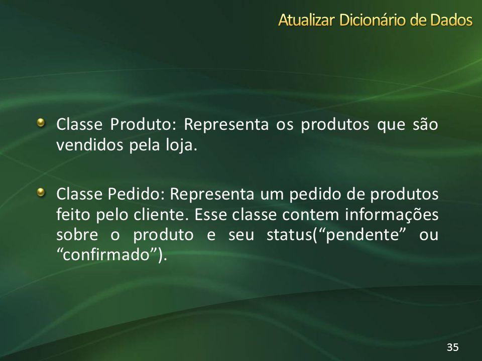 Classe Produto: Representa os produtos que são vendidos pela loja. Classe Pedido: Representa um pedido de produtos feito pelo cliente. Esse classe con