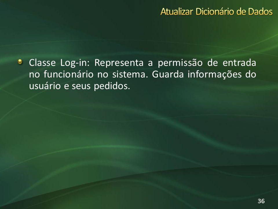 Classe Log-in: Representa a permissão de entrada no funcionário no sistema. Guarda informações do usuário e seus pedidos. 36