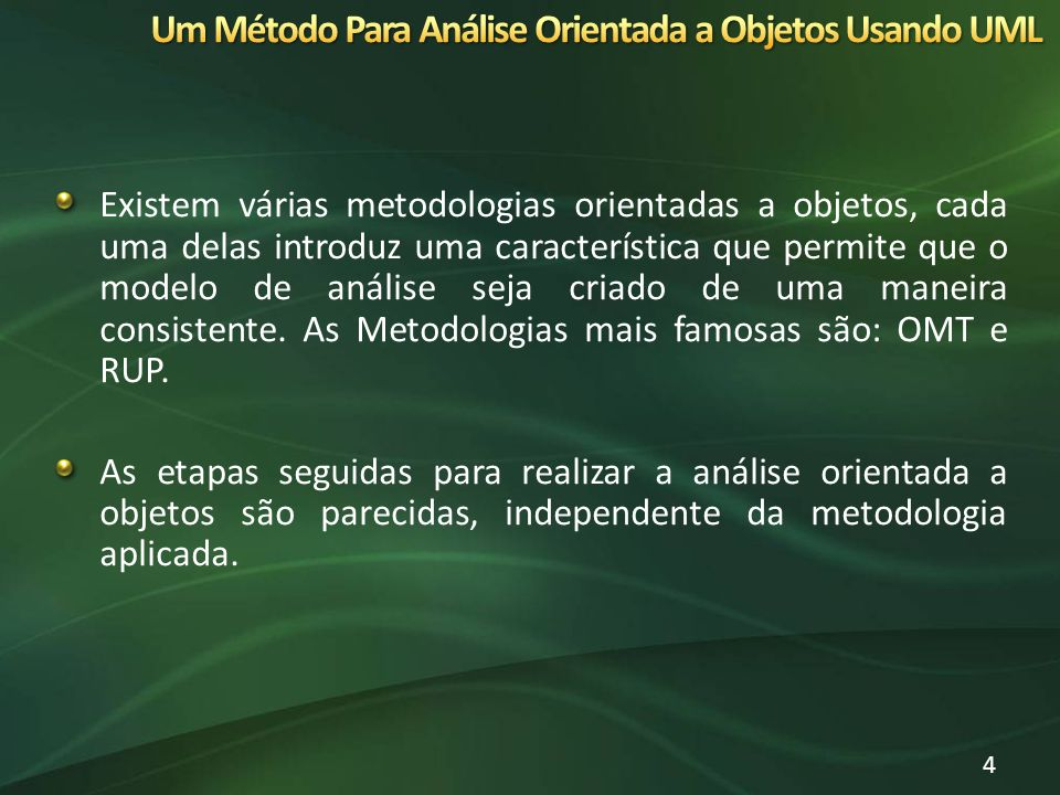 Existem várias metodologias orientadas a objetos, cada uma delas introduz uma característica que permite que o modelo de análise seja criado de uma ma
