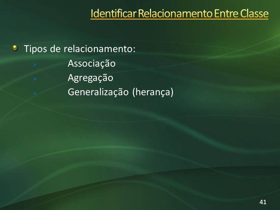Tipos de relacionamento: Associação Agregação Generalização (herança) 41