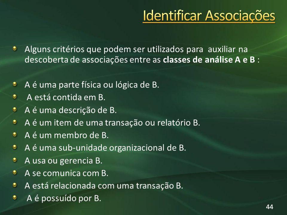 Alguns critérios que podem ser utilizados para auxiliar na descoberta de associações entre as classes de análise A e B : A é uma parte física ou lógica de B.