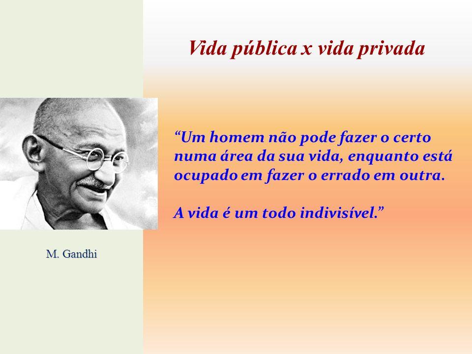 Vida pública x vida privada Um homem não pode fazer o certo numa área da sua vida, enquanto está ocupado em fazer o errado em outra. A vida é um todo