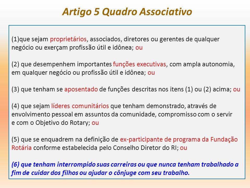 Artigo 5 Quadro Associativo (1)que sejam proprietários, associados, diretores ou gerentes de qualquer negócio ou exerçam profissão útil e idônea; ou (