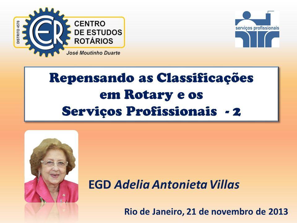 Repensando as Classificações em Rotary e os Serviços Profissionais - 2 Repensando as Classificações em Rotary e os Serviços Profissionais - 2 EGD Adel