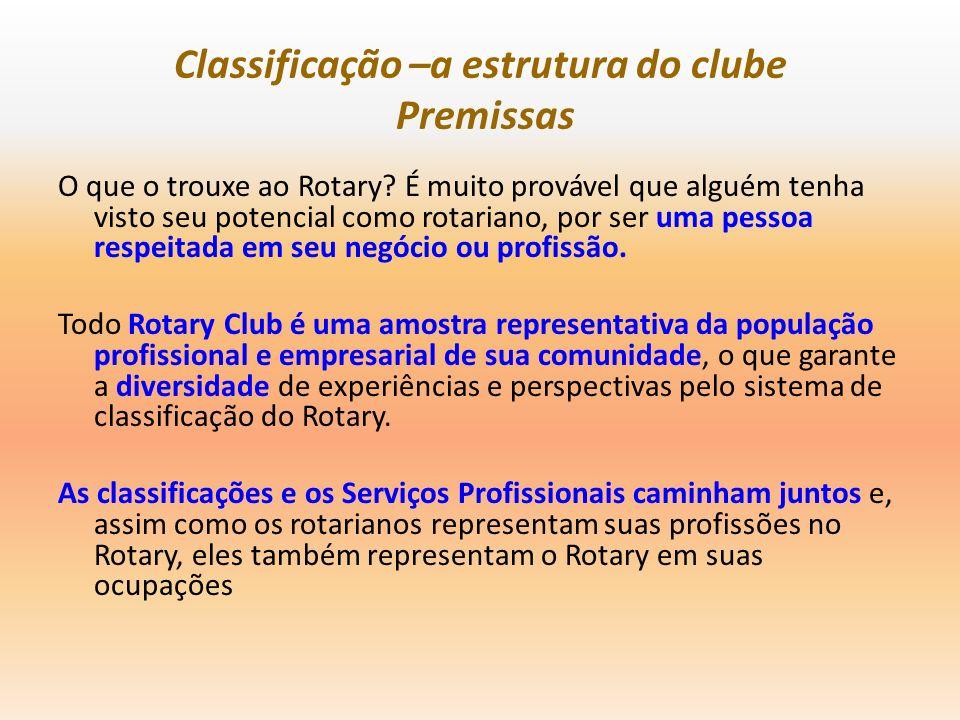 Classificação –a estrutura do clube Premissas O que o trouxe ao Rotary? É muito provável que alguém tenha visto seu potencial como rotariano, por ser