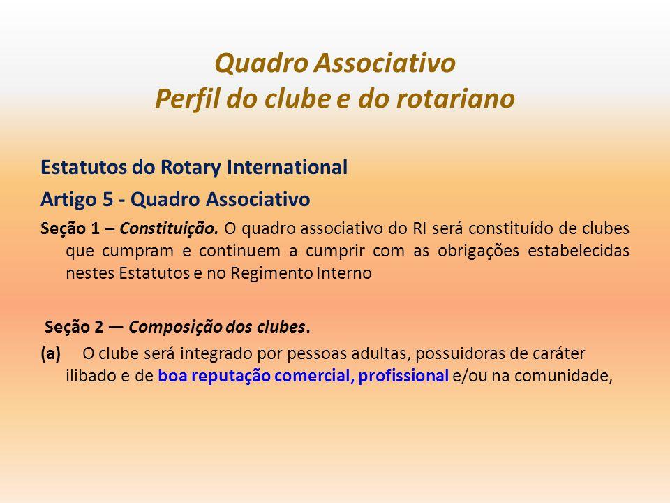 Quadro Associativo Perfil do clube e do rotariano Estatutos do Rotary International Artigo 5 - Quadro Associativo Seção 1 – Constituição. O quadro ass