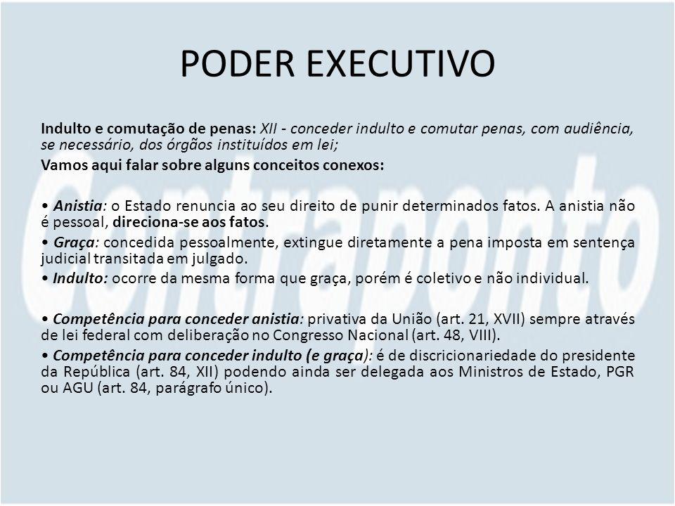 PODER EXECUTIVO Indulto e comutação de penas: XII - conceder indulto e comutar penas, com audiência, se necessário, dos órgãos instituídos em lei; Vam