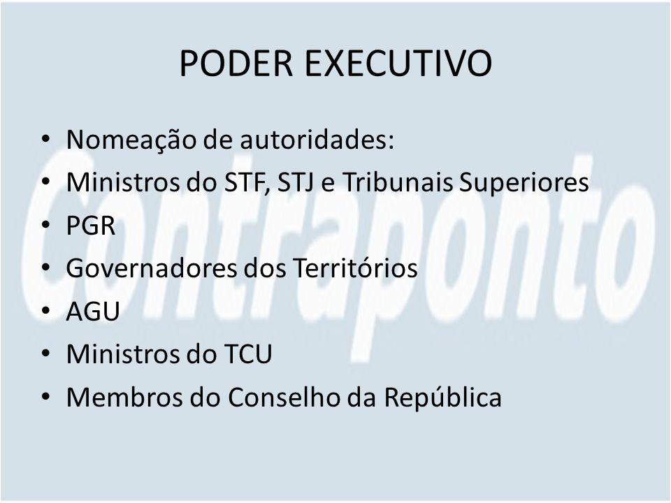 PODER EXECUTIVO Nomeação de autoridades: Ministros do STF, STJ e Tribunais Superiores PGR Governadores dos Territórios AGU Ministros do TCU Membros do