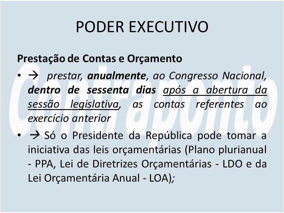 PODER EXECUTIVO Prestação de Contas e Orçamento prestar, anualmente, ao Congresso Nacional, dentro de sessenta dias após a abertura da sessão legislat
