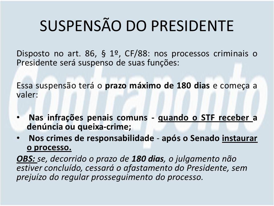 SUSPENSÃO DO PRESIDENTE Disposto no art. 86, § 1º, CF/88: nos processos criminais o Presidente será suspenso de suas funções: Essa suspensão terá o pr