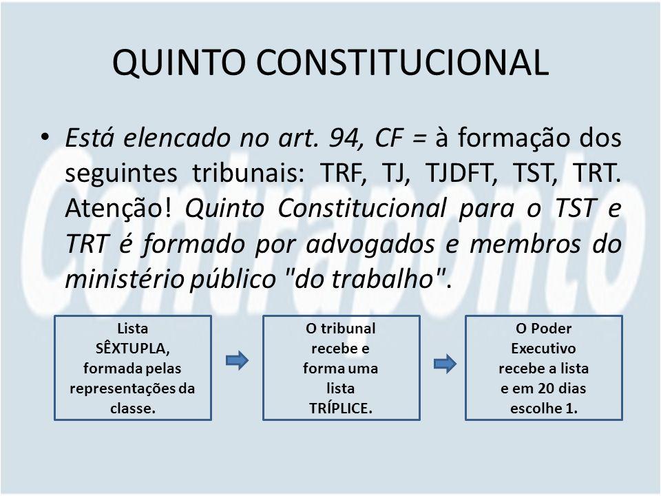 QUINTO CONSTITUCIONAL Está elencado no art. 94, CF = à formação dos seguintes tribunais: TRF, TJ, TJDFT, TST, TRT. Atenção! Quinto Constitucional para