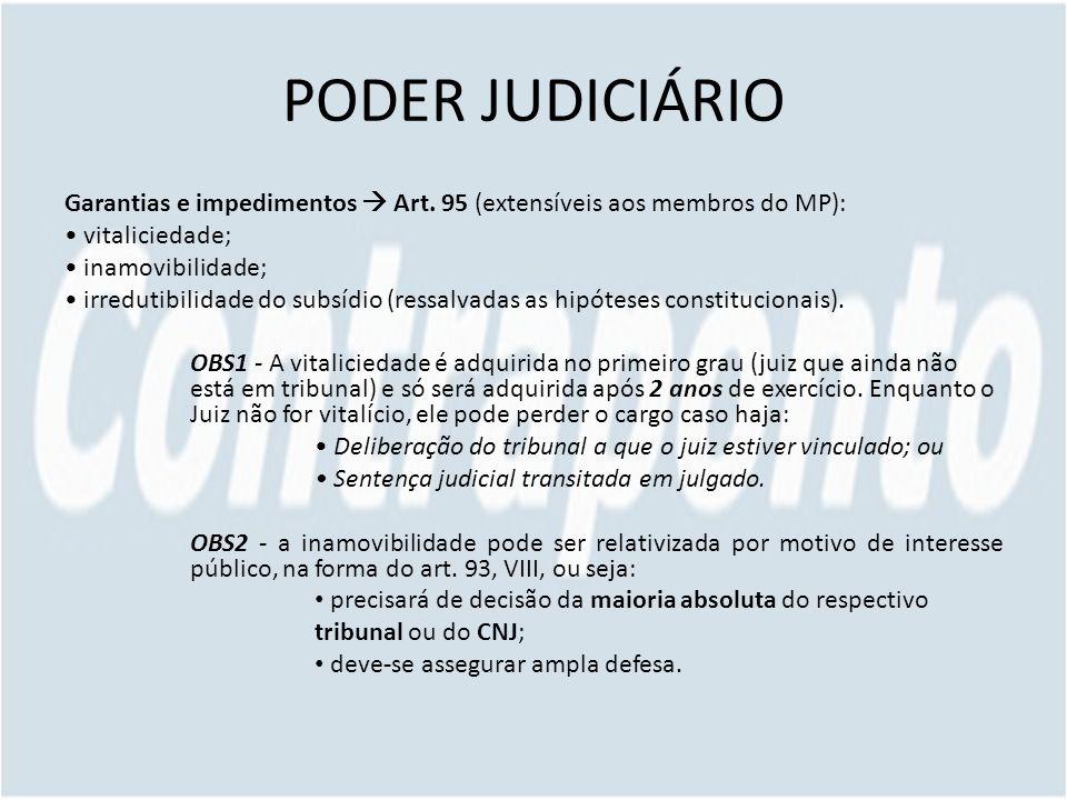 PODER JUDICIÁRIO Garantias e impedimentos Art. 95 (extensíveis aos membros do MP): vitaliciedade; inamovibilidade; irredutibilidade do subsídio (ressa
