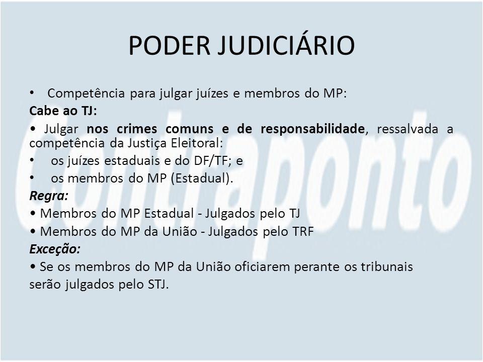 PODER JUDICIÁRIO Competência para julgar juízes e membros do MP: Cabe ao TJ: Julgar nos crimes comuns e de responsabilidade, ressalvada a competência da Justiça Eleitoral: os juízes estaduais e do DF/TF; e os membros do MP (Estadual).