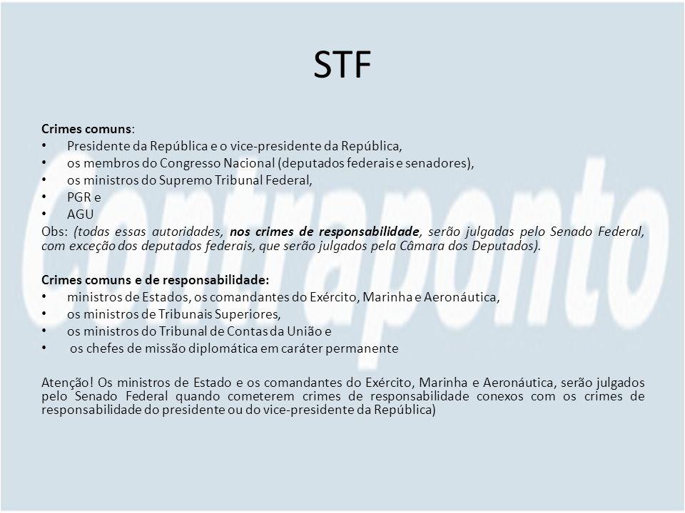 STF Crimes comuns: Presidente da República e o vice-presidente da República, os membros do Congresso Nacional (deputados federais e senadores), os min