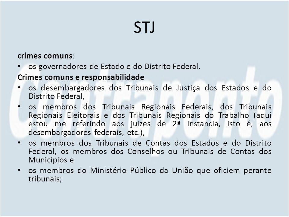 STJ crimes comuns: os governadores de Estado e do Distrito Federal. Crimes comuns e responsabilidade os desembargadores dos Tribunais de Justiça dos E