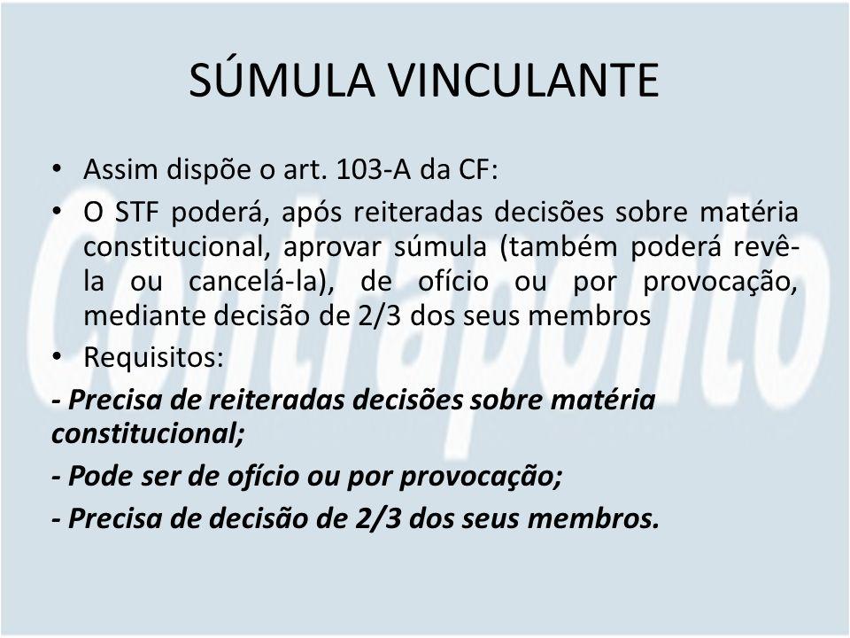 SÚMULA VINCULANTE Assim dispõe o art. 103-A da CF: O STF poderá, após reiteradas decisões sobre matéria constitucional, aprovar súmula (também poderá