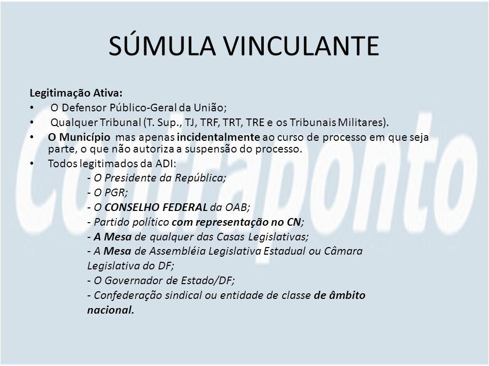 SÚMULA VINCULANTE Legitimação Ativa: O Defensor Público-Geral da União; Qualquer Tribunal (T.