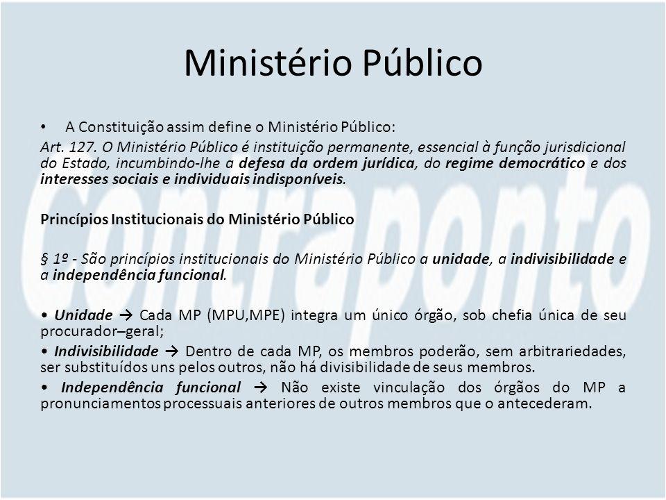 Ministério Público A Constituição assim define o Ministério Público: Art. 127. O Ministério Público é instituição permanente, essencial à função juris