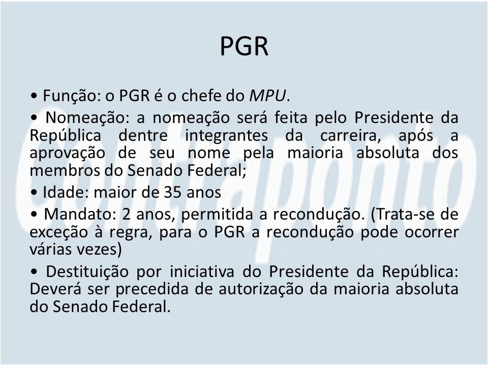 PGR Função: o PGR é o chefe do MPU. Nomeação: a nomeação será feita pelo Presidente da República dentre integrantes da carreira, após a aprovação de s