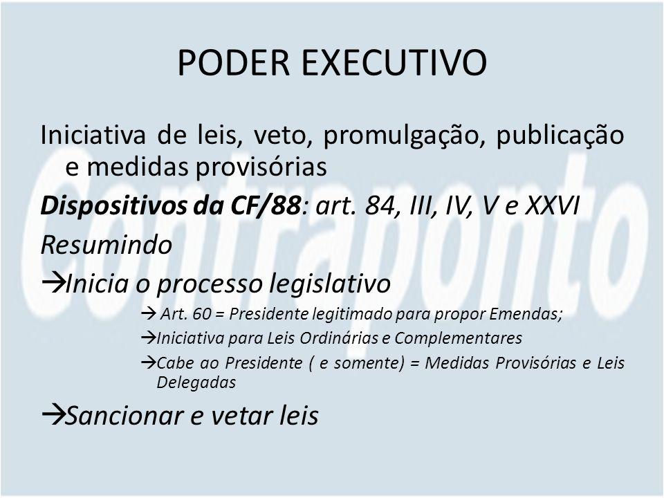 PODER EXECUTIVO Iniciativa de leis, veto, promulgação, publicação e medidas provisórias Dispositivos da CF/88: art. 84, III, IV, V e XXVI Resumindo In