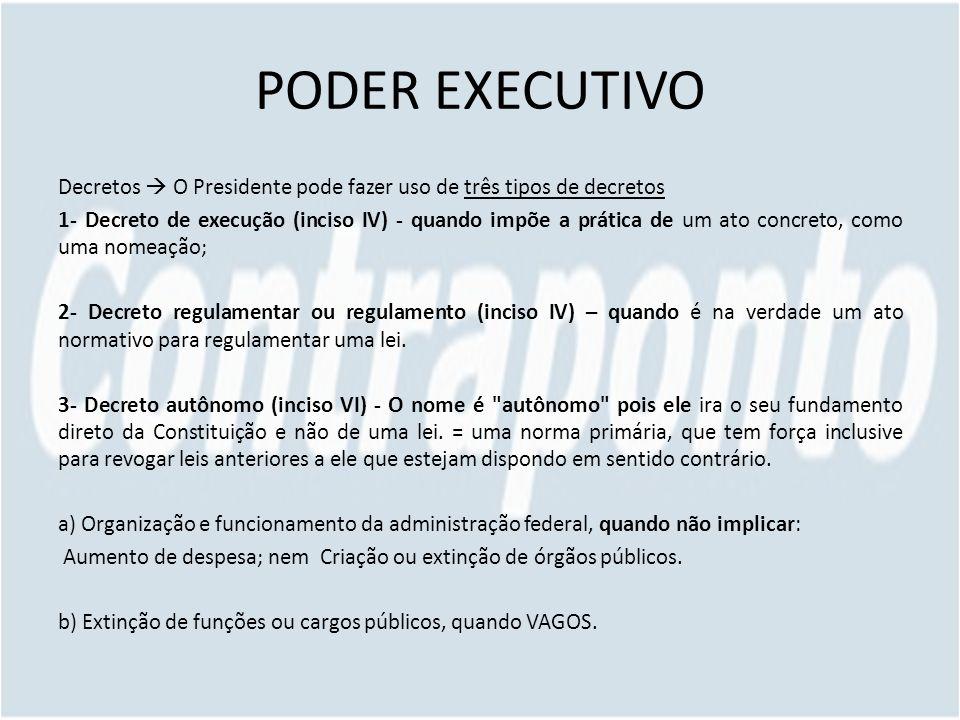 PODER EXECUTIVO Decretos O Presidente pode fazer uso de três tipos de decretos 1- Decreto de execução (inciso IV) - quando impõe a prática de um ato c