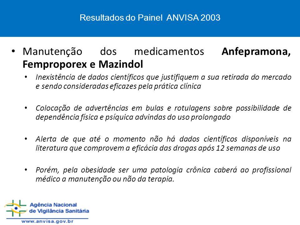 Manutenção dos medicamentos Anfepramona, Femproporex e Mazindol Inexistência de dados científicos que justifiquem a sua retirada do mercado e sendo co