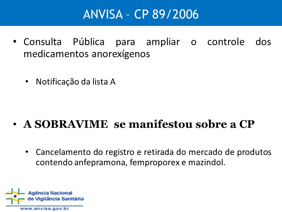 ANVISA – CP 89/2006 Consulta Pública para ampliar o controle dos medicamentos anorexígenos Notificação da lista A A SOBRAVIME se manifestou sobre a CP