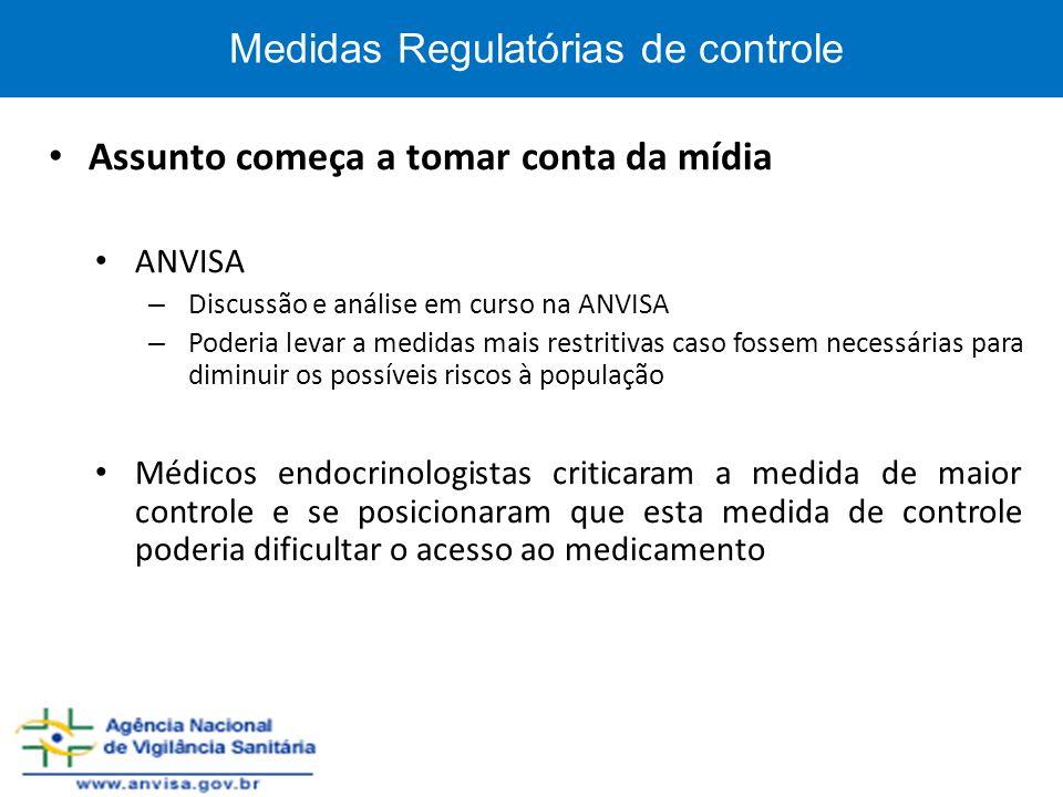 Medidas Regulatórias de controle Assunto começa a tomar conta da mídia ANVISA – Discussão e análise em curso na ANVISA – Poderia levar a medidas mais